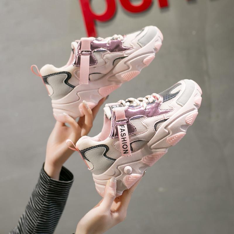 Tıknaz Yeni Eğitmenler Kadın Bling Platformu Up Tenis Rahat Ayakkabılar Aydınlık Ayakkabı Tasarımcılar Mesh Kadın Kadın Yürüyüş Moda Dantel Sneaker Lnob