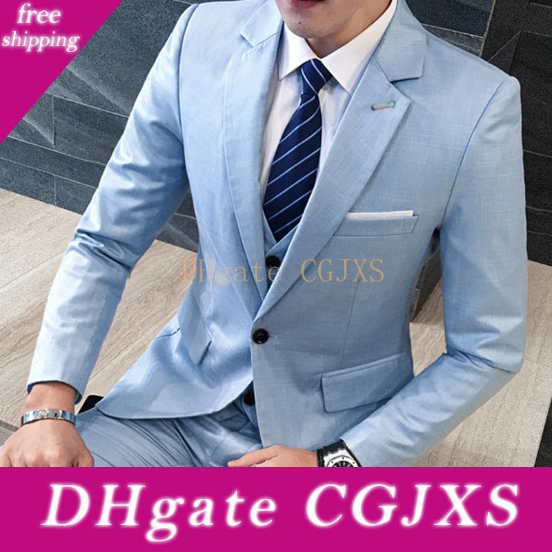 Очень хорошо One Button Light Blue Groom Tuxedos Нотч Мужские костюмы 3 шт Свадьба / Пром / ужин Blazer (куртка брюки жилет Tie) W516