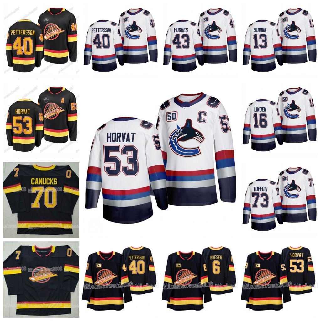 Elias Pettersson 50º Vancouver Canucks 2020 Stanley Cup Playoffs Bo Horvat Quinn Hughes Bo Horvat Brock Boeser Edler Roussel Bure Jerseys