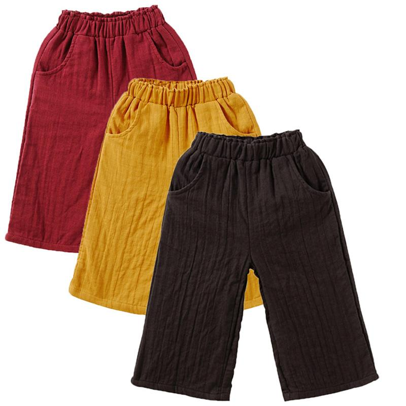 Otoño de la muchacha ancha desgaste de la pierna de los pantalones de los niños pantalones ropa de niños niño grande pantalones ocasionales de sección delgada pantalones flojos Capris del verano