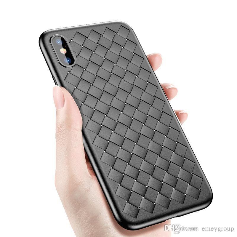 iPhone Para uma boa qualidade Woven Silicone Case 11 pro xs xr máximo 6 7 8 Plus Trançado Couro Macio Telefone Shell para o iPhone 6 6S 7 8 Plus X 10 casos