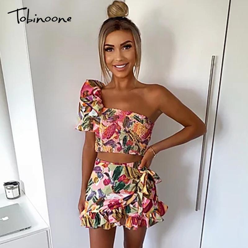 Conjuntos de Tobinoone Verão Sexy Mulheres Puff luva florais imprimir duas Pieces Praia Set Alças de culturas tops e shorts Suits Casual
