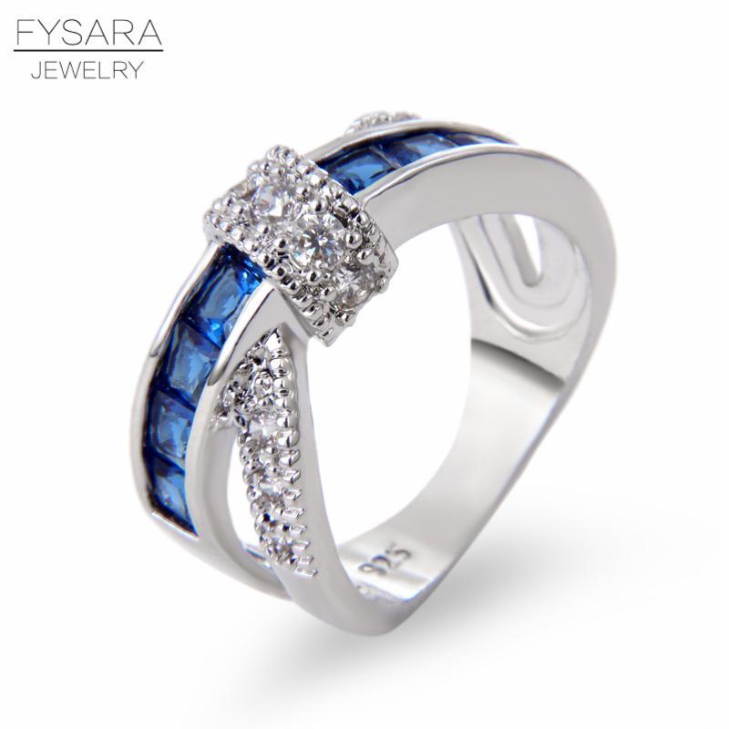 FYSARA Cruz dedo anular para las mujeres pavimentada circón azul Cristales de lujo joyería de los pares de la princesa anillo de compromiso de la boda Señora