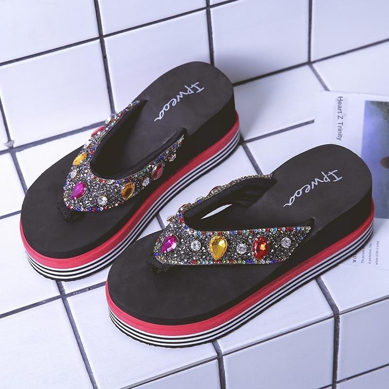 gepmE verano nuevo y desgaste al aire libre junto al mar antideslizante manera del verano de las mujeres de suela gruesa slip-on flip-flop zapatillas sandalias y zapatillas Sanda