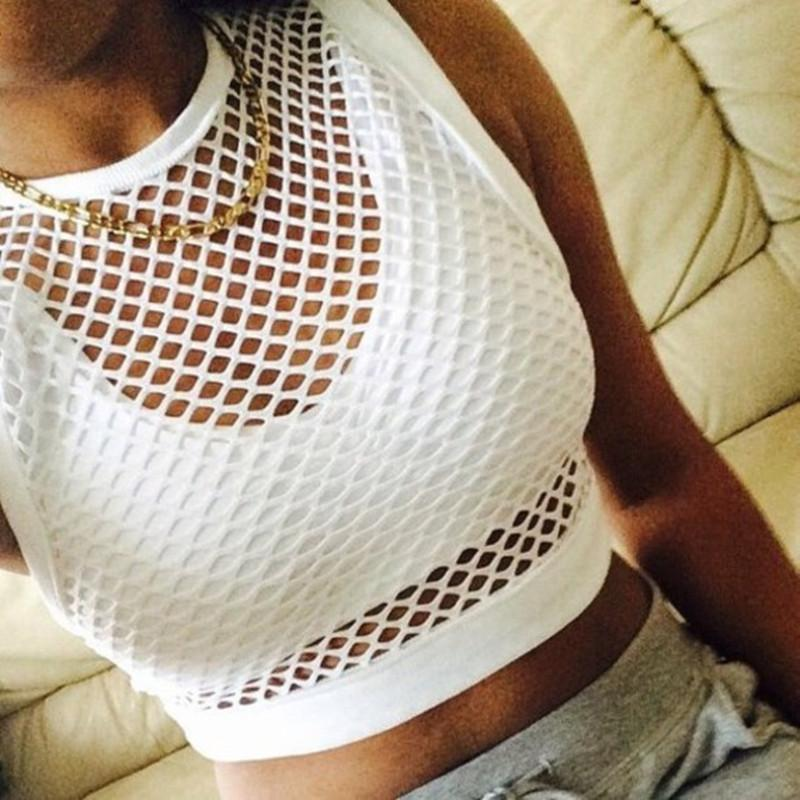 Summer Women Running Tank Top Fishnet Hollow Out White Vest Casual Tops Female Clothing Beach Cover-ups Club Short Solid