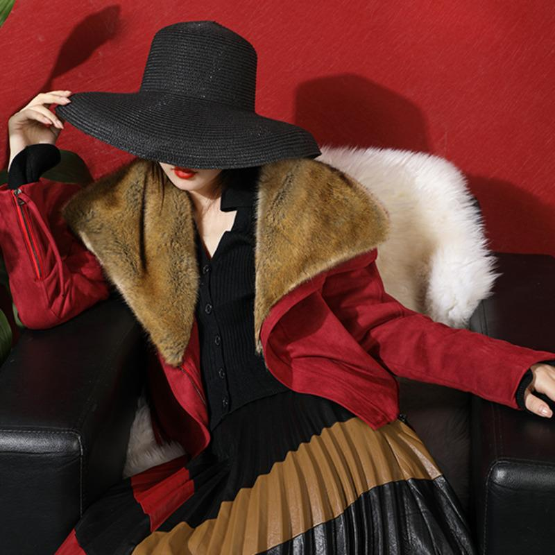 Fashion Tide Fur Coat Female Short Paragraph New Fashion Motorcycle Suede Large Lapel Lamb Hair Warm Cotton Coat PB791