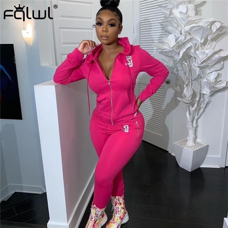 FQLWL Pedrinhas Casual Two Piece Set Mulheres Clube Outfits Zipper com capuz e BODYCON Cuecas Treino Ladies a condizer T200612