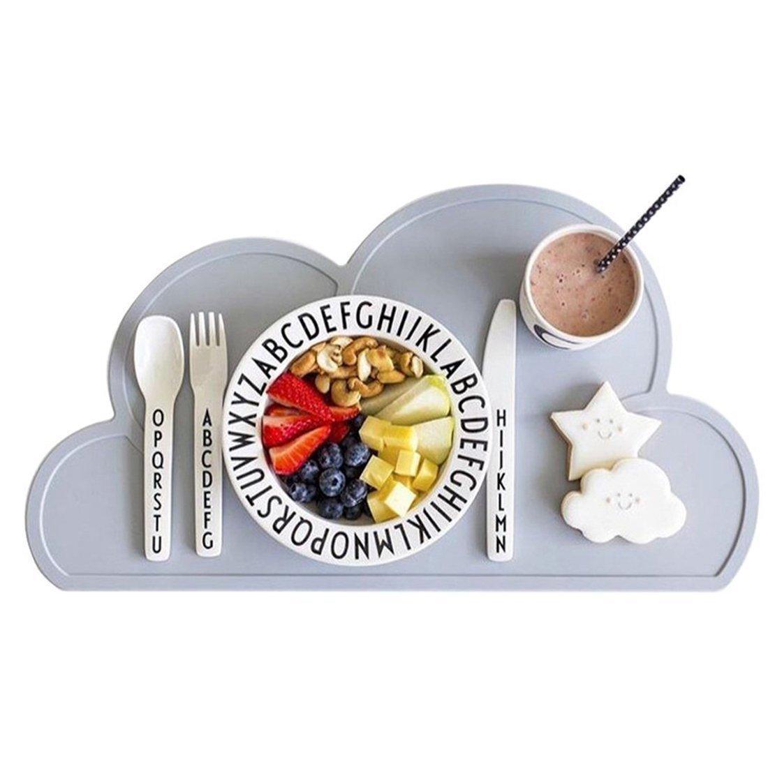 الاطفال تحديد الموقع سيليكون الغيمة الشكل تحديد الموقع غير تحديد الموقع زلة لاطفال رضع، المحمولة الغذاء حصيرة PAD BPA الحرة القابلة لإعادة الاستخدام المفارش