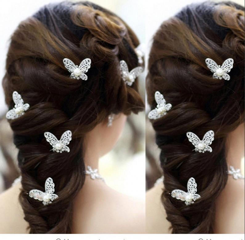 새로운 나비 20PCS 블링 웨딩 액세서리 신부 진주 헤어핀 꽃 크리스탈 라인 석 머리 핀 클립 들러리 여성 헤어 쥬얼리