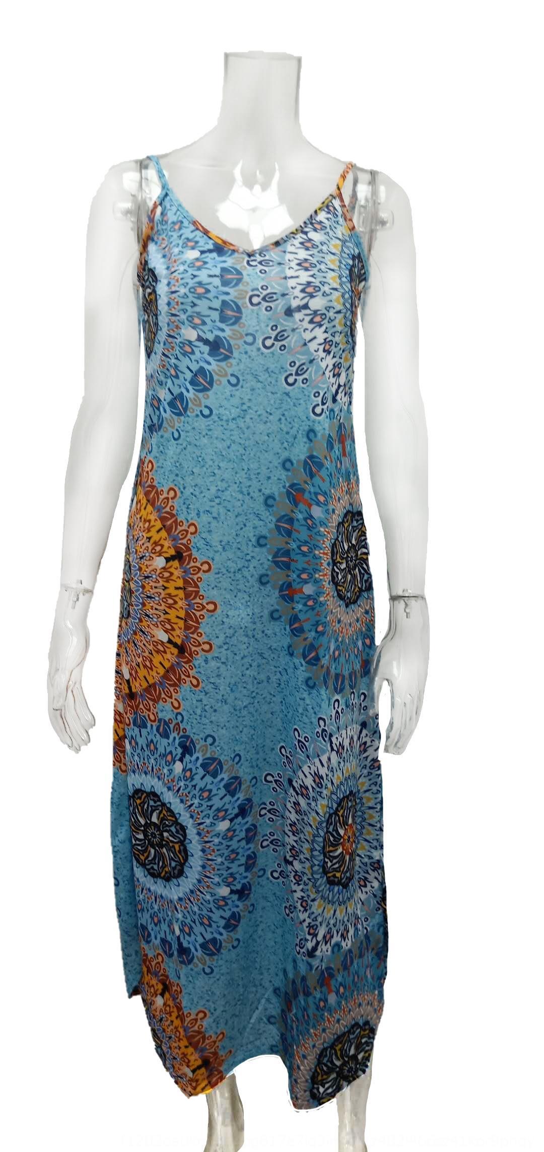 CTqYO ()2020 hot-selling women's Sling printed suspender large swing dress ()2020 hot-selling women's big big skirt Sling skirt printed susp