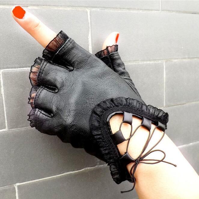 New Fashion doigt à moitié Gants femmes Véritable Gants en cuir noir Creative filles en peau de mouton mitaines en dentelle danse