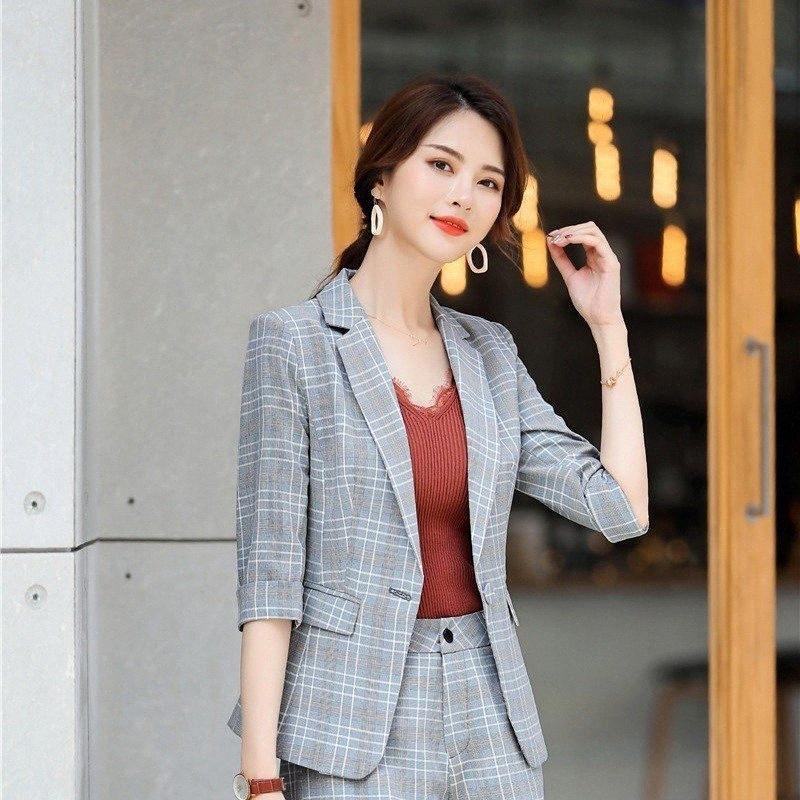 Moda Ekose Yarım Kol Biçimsel Blazers ve Ceketler Coat 2019 İlkbahar Yaz OL Stiller Blazer Ceket Dış Giyim Bayan Giyim HaRj # Tops