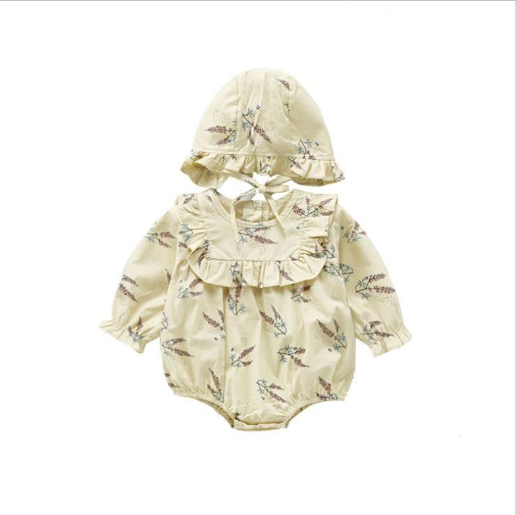 أزياء الطفل الاطفال ملابس طويلة الأكمام جولة طوق زهرة طباعة رومبير + قبعة 100٪٪ الطفل تسلق الربيع الخريف فتاة رائعة رومبير