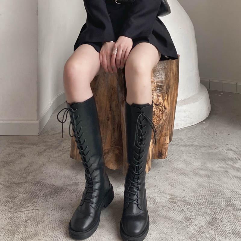 Cuero genuino los zapatos femeninos de alta botas de mujer de las mujeres 2020 zapatos de plataforma cremallera de las mujeres Otoño Negro Botas mujer botines Moda