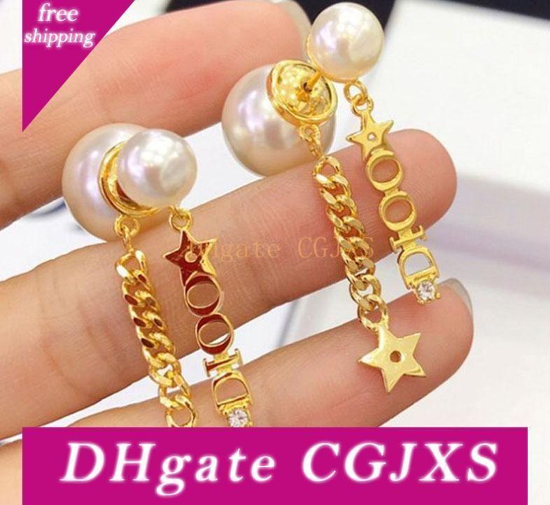 2020 joyería Pendientes exquisito Salvaje perla pendientes de cobre Material de 18k chapado en oro verdadera coreana Fde