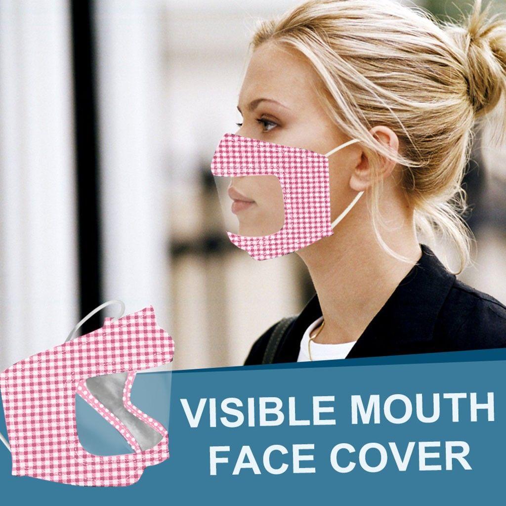 8styles PET Lippenschablonen-Anti-fog Transparente Masken Tarnung Plaid Cotton Maske Deaf Mute Designer Masken Soft-Anti-Staub-Mund-Abdeckung GGA3537-10
