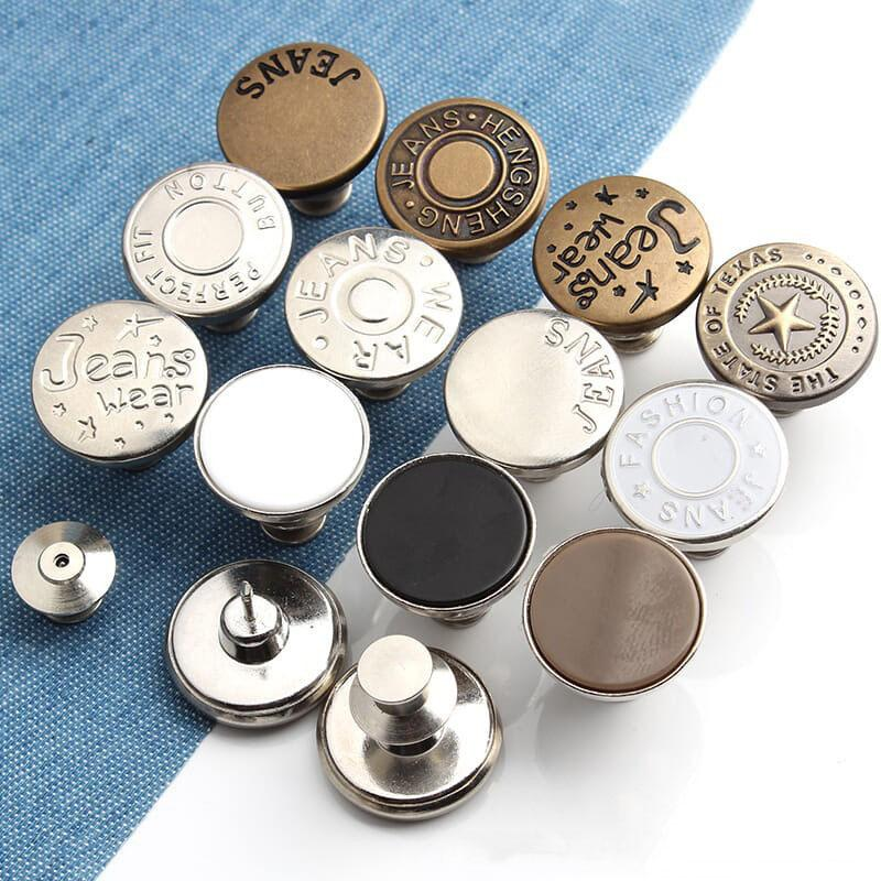 Jeans Botones metálicos retráctiles ajustables Botones desmontable cóncavo de la aleación de la cintura Ropa Accesorios sujetador de costura DIY VT1482