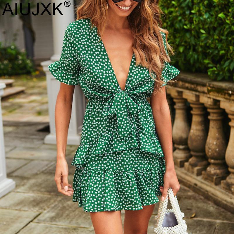 di AIUJXK delle donne V Ne manica corta bowknot punto stampato Verde Dr estate 2020 del breve manicotto allentato casuale Beach Dres
