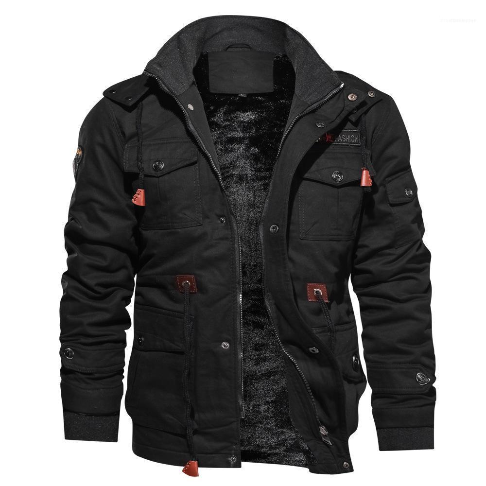 Cep Düğme Erkek ceketler Katı Renk Kalınlaşmak Erkek Palto Boyun Sıcak Erkekler Kabanlar Kış tutun Standı