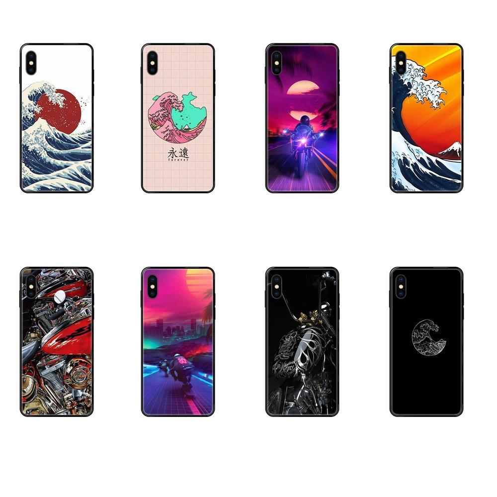 Apple iPhone Japão Ondas Art Moto macio TPU Coque Capa Para X XR XS 11 12Pro MAX 5S 5C SE 6S 7 8 Plus 2020