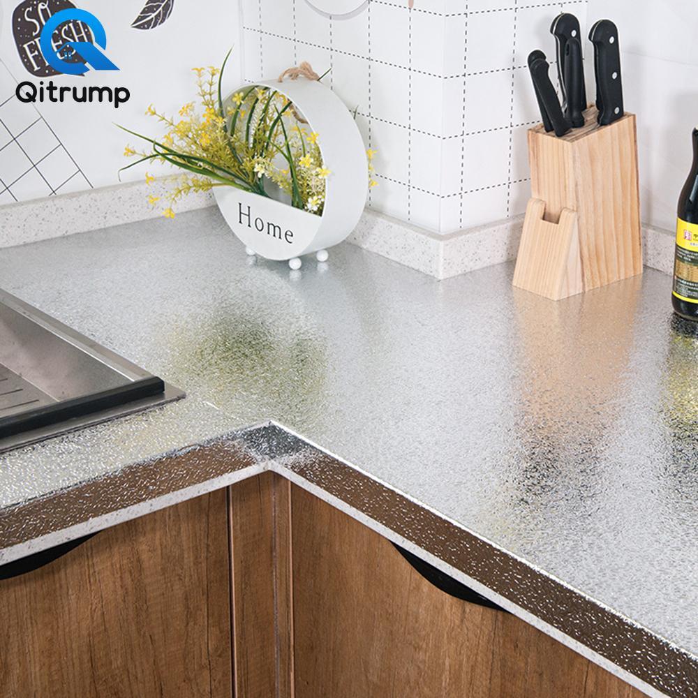 Olio-prova impermeabile multifunzionale sticker da parete Carta da parati autoadesiva carta da cucina di alluminio Mobili metallo Decor Film
