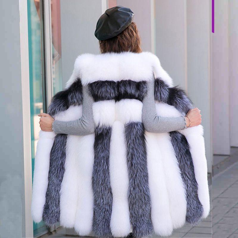 Faux Sliver Fur Vest Mulheres Winter Fashion Médio Longo Artifical Fur Mulher Coletes Quente Falso Coats Feminino Ladies
