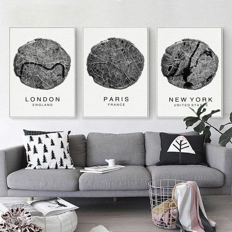 Negro y blanco de Nueva York Mapa de la ciudad impresión de la pintura minimalista del arte moderno de la pared de la lona Impresiones Imagen de la sala Decoración 1gSQ #