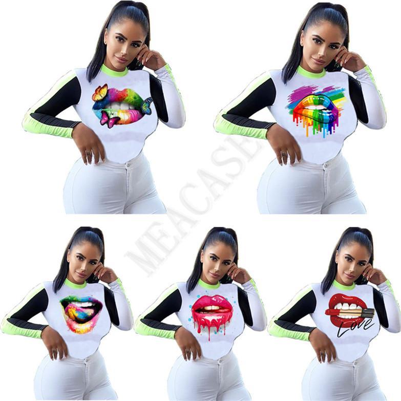 Ropa de las mujeres de la manera tapas de manga larga T Labios camisa mariposa camiseta de la impresión del remiendo del color del otoño de los deportes de invierno D8604 ocasional del suéter