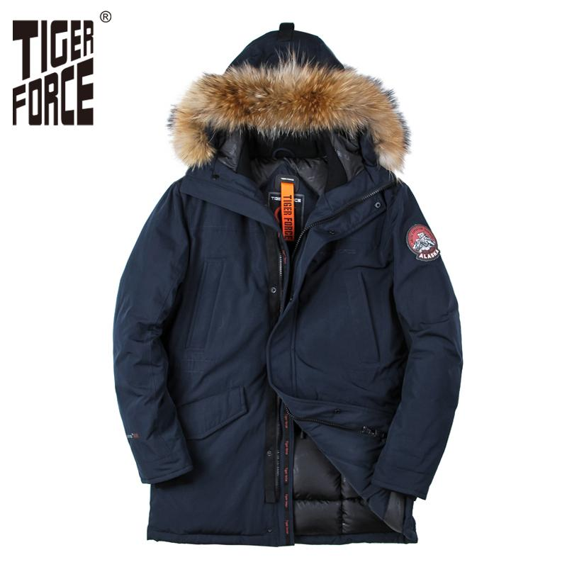 TIGER FORCE 2020 New Men Padded Parka Winter Polyester Coat Thick Parkas With Raccoon Fur Collar Fashion Coat Mens Free Shipping