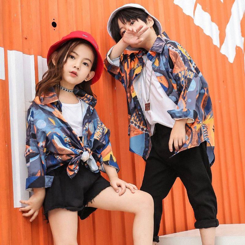Boy or Girl Hiphop Hip Hop Costume Children Flower Shirt Black Pants Trousers Jazz Belly Dance Kids Performance Clothes Clothing KVJS#