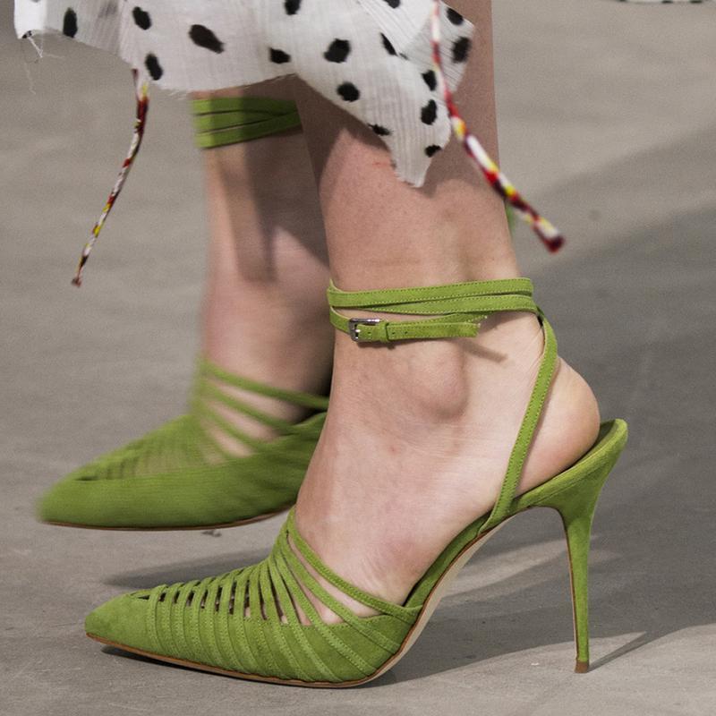 Тонкие Strappy исправленными Гладиатор Насосы Женщины Остроконечные Toe вырезами Повседневная обувь Lady Bucke ремень Slingback сандалии девушки Высокие каблуки