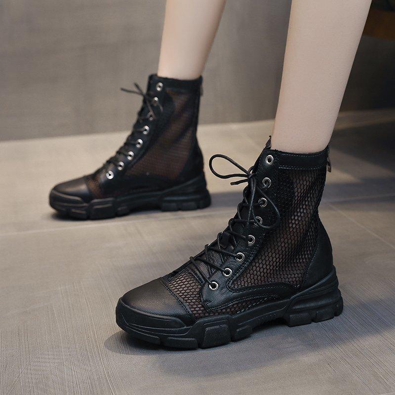 Сапоги для женщин Осень Осень Fashio 2021 Обувь Дышащая сетка Молния Круглый Носок Носок Удобные Пинетки Женские