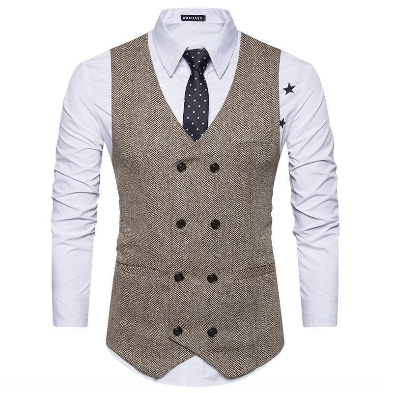 Frühling und Herbst neue beiläufige Art und Weise der Männer Wolle europäische großer Woll zweireihiges Weste Anzug Weste
