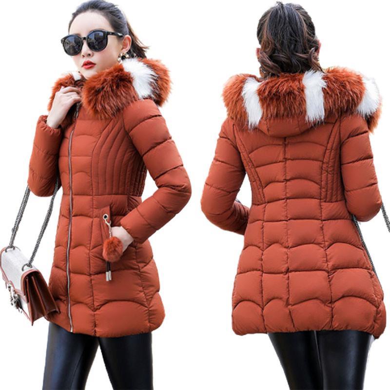 2020 Jacket New inverno Brasão Parka Mulheres gola de pele casaco com capuz Feminino Jacket Parkas algodão acolchoado Outwear P1026