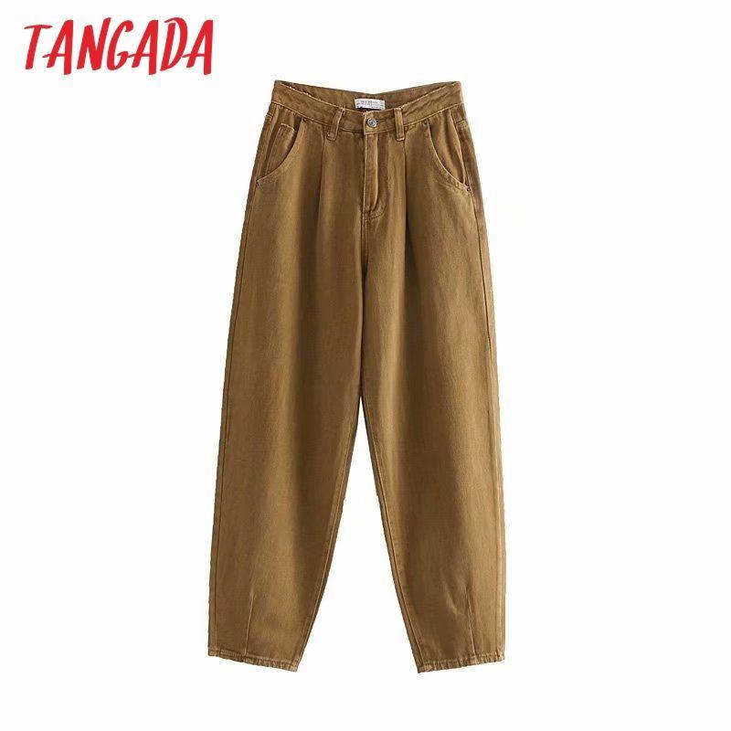 Tangada moda feminina soltos danos calças jeans menino amigo estilo calças compridas bolsos com zíper solta calças femininas de rua LJ200813