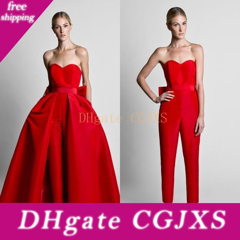 Krikor Jabotian Kırmızı Tulumlar Kadınlar Custom Made in İçin Ayrılabilir Etek Sweetheart Gelinlik Modelleri Parti Giyim Pantolon ile Örgün Abiye