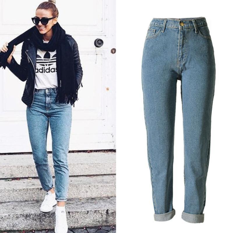 Nueva Moda Otoño altura de la cintura de los pantalones vaqueros de la mujer 2020 Novio Estilo de los pantalones de mezclilla ocasionales de las mujeres de la calle recta suelta más los pantalones vaqueros