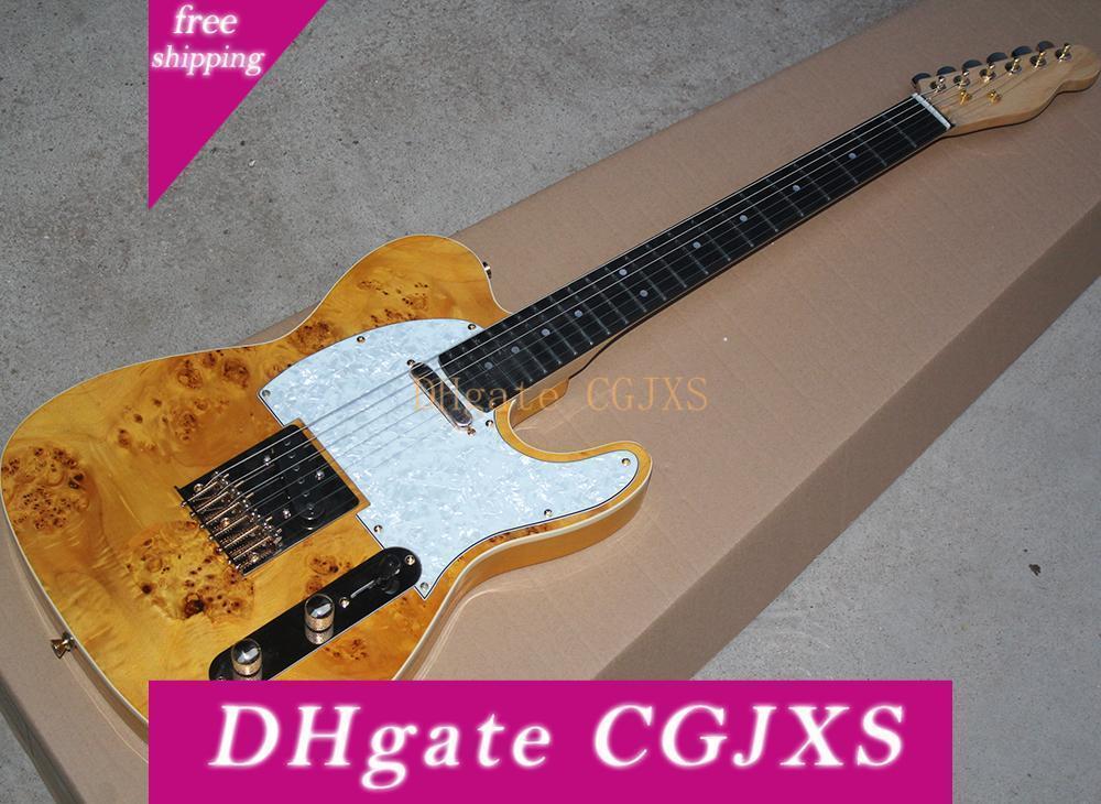 Natural Color Madeira guitarra elétrica Com árvore -Burl bordo Veneer, Rosewood Fretboard, Ouro Hardware, pode ser personalizado como Request