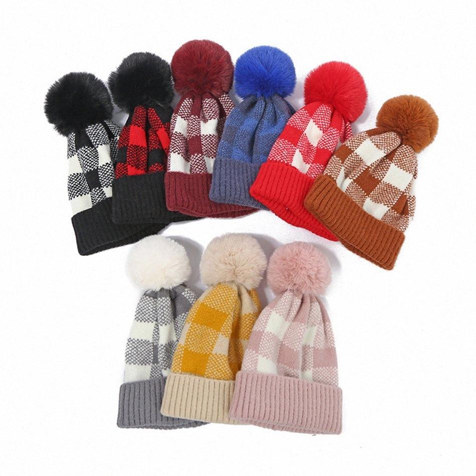 Winter Women plaid Knitted Beanies Pom Pom Beanie fur ball Hat Warm Wool unisex Crochet Skull Beanie Female Outdoor Caps LJJA3485-12 ROuF#