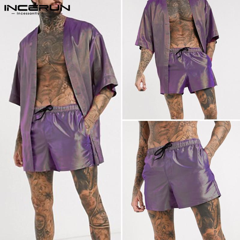 INCERUN Mode Hommes Pyjama ouverts manches demi Cardigan point Shorts Drawstring Homewear Hommes Ensembles Costume Chic Brillant Notte T200813