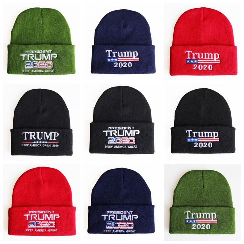 Trump Mützen stricken Winter Schädel Cap Donald Wiederwahl Beanie Keep America Stickerei USA Flag Caps Casual Beanie Winter-warmer Hut HWC1080