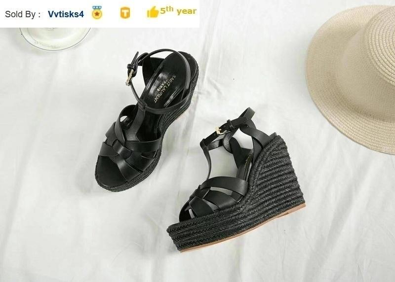 Black hemp rope sole high heel shoes sandals wedge shoes Women High heels Sandals Slippers Mules Slides PUMPS SHOES SNEAKERS