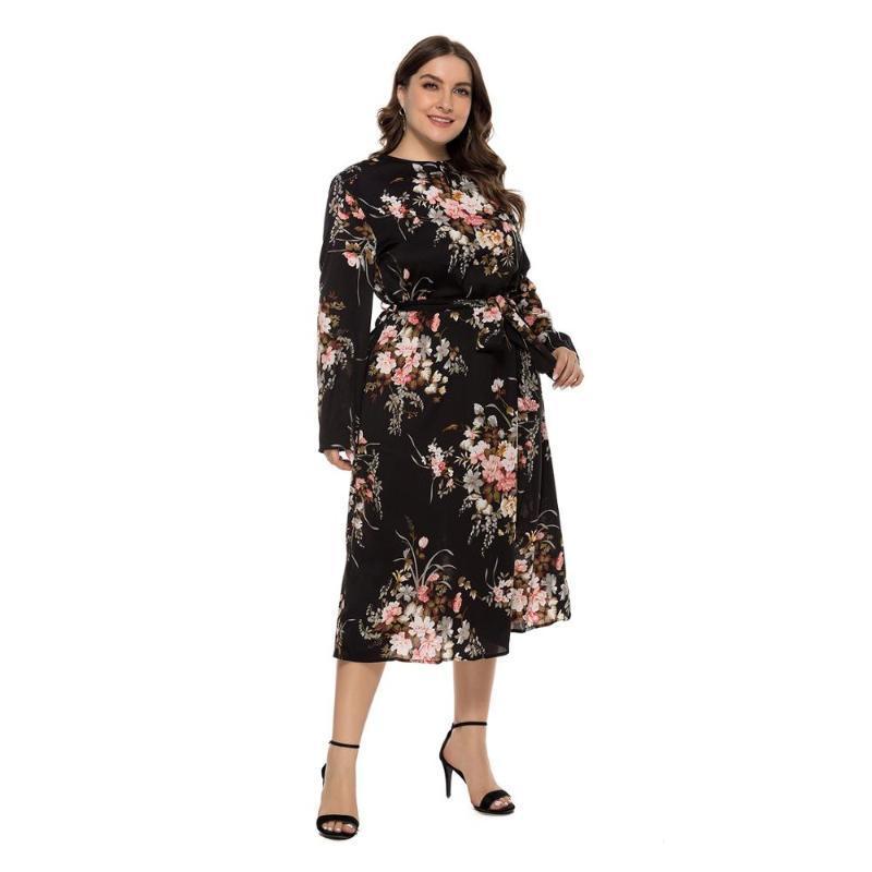 WHZHM otoño más el tamaño 3XL 4XL Partido vestido señoras de la flor imprimió alrededor del cuello de los marcos de manga larga floral flojo de Bohemia vestido de las mujeres
