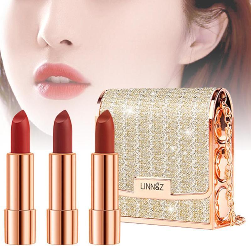 3pcs Lipstick Makeup Set with a Cluth Holder Matte Texture Long Lasting Lip Makeup Gloss Lip Stick
