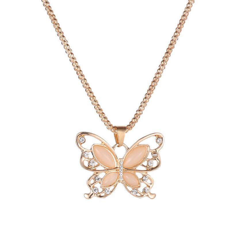 Korean version of creative new fashion opal hollow butterfly necklace wild elegant sweater chain source factory wholesale