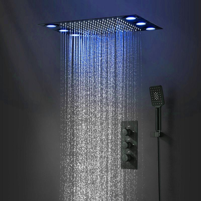 Sanitary Ceiling Matt Black Thermostatic Rainfall Rain Shower Set Bathroom Accessories Remote Control Led shower Head Faucets System