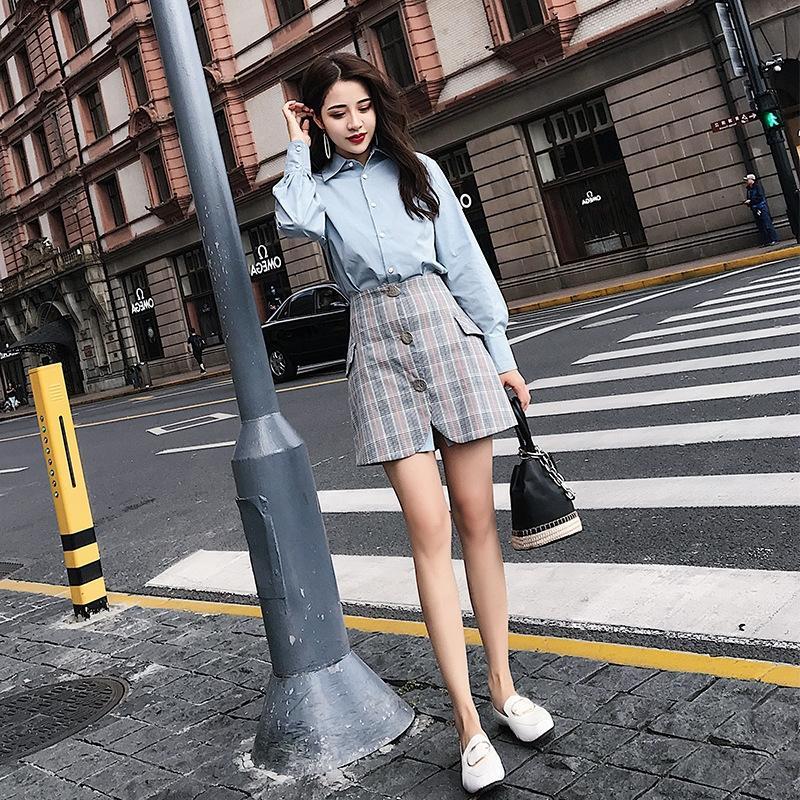 QU9d4 X8as6 2020 ранней осенью новое платье рубашки женщин онлайн знаменитости мило зрелые улица выстрел платье богини шик ранняя осень рубашка юбка ТВт