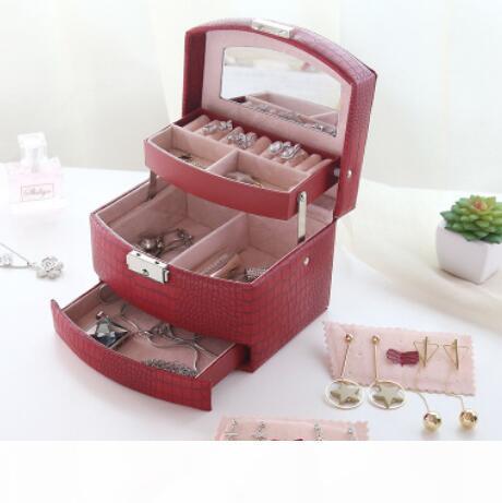 cassa dei monili di lusso per la raccolta di lucertole in pelle blocco automatico tre strati per i gioielli esente da trasporto