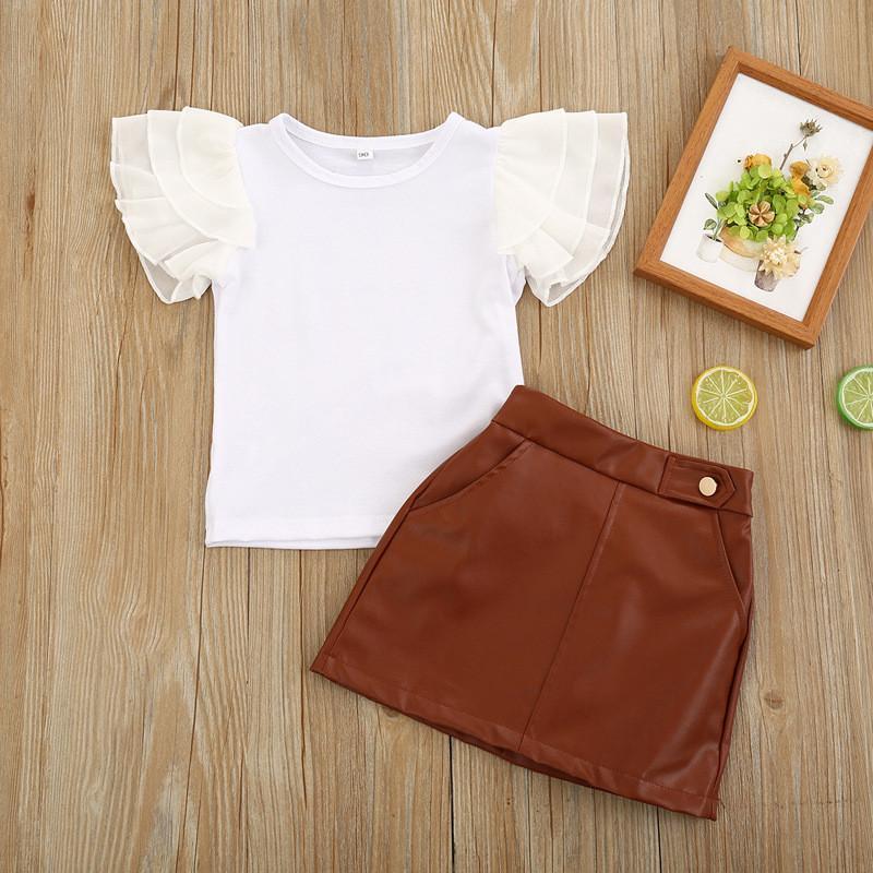 2020 الأزياء طفل جديد للأطفال الفتاة مجموعة ملابس الصيف كم قصير ميني بوس تي شيرت بلايز + جلد البدلة تنورة 2PCS الزي الطفل