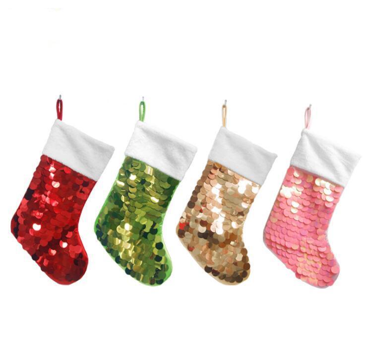 Sequin Noël Chaussettes enfants bonbons colorés de stockage de bas Xrmas Décorations Sac cadeau Parti Pendentif Arbre de Noël Sac Suppies LSK994